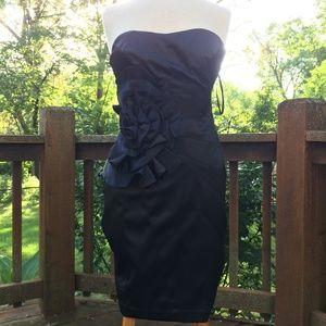 White Black Prom Dress Strapless Black Dress Sz 4